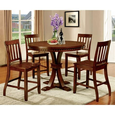 7 Piece Counter Height Dining Room Sets by Furniture Of America Duran 5 Piece Round Counter Height