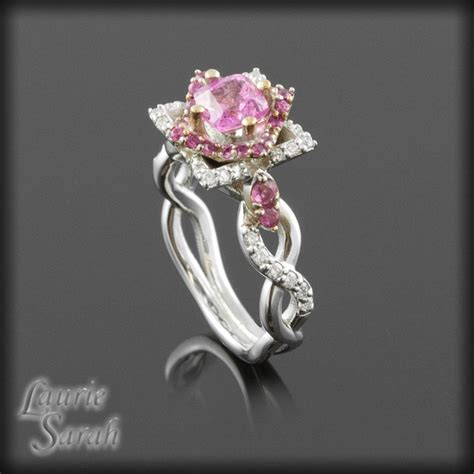 cushion cut pink sapphire and flower engagement