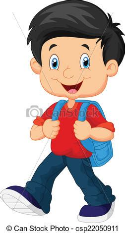 Vector Illustration Of School Boy Cartoon Walking Boy Images Free