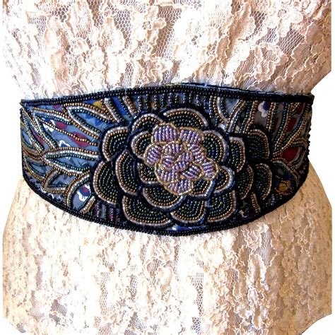 how to make beaded belts vintage beaded cumberbund sash belt size s from
