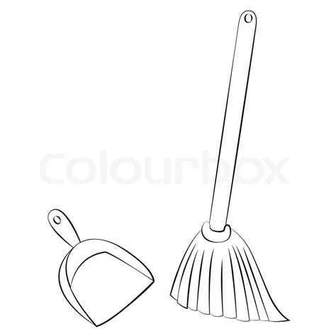 In Ground House Plans Black Outline Vector Broom Amp Dustpan On White Background