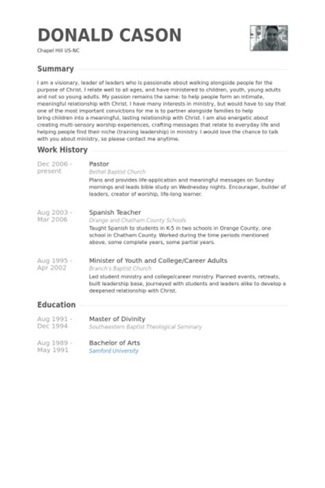 resume for a church 28 images pastor resume sles