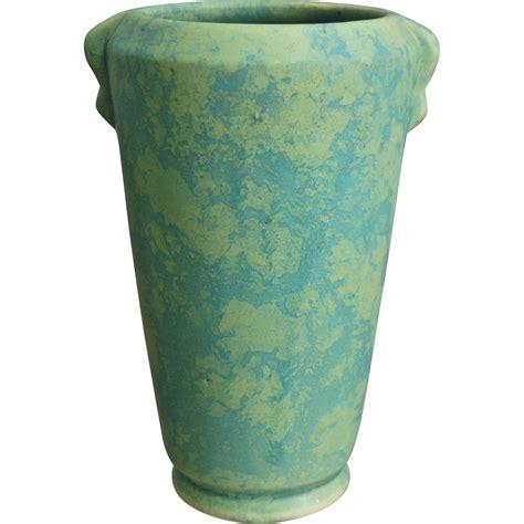 Weller Vase by Weller Pottery Mottled Matte 8 Vase C 1930 From