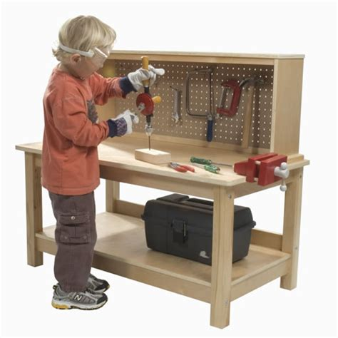 kids woodworking bench wooden workbench with vise by kaplan early learning company
