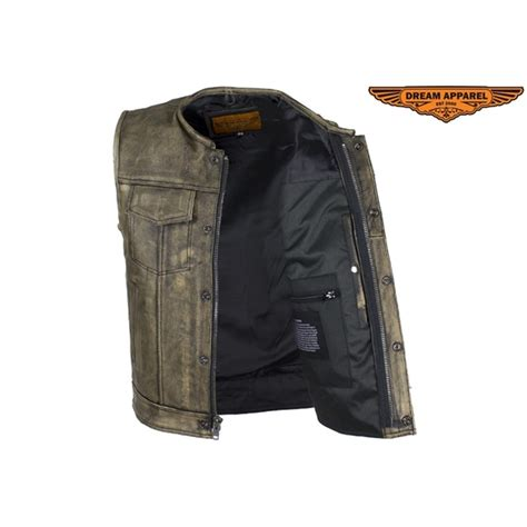 leather motorcycle vest s distressed brown leather motorcycle vest by