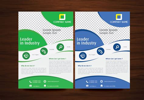 free template for flyer design blue and green vector brochure flyer design template