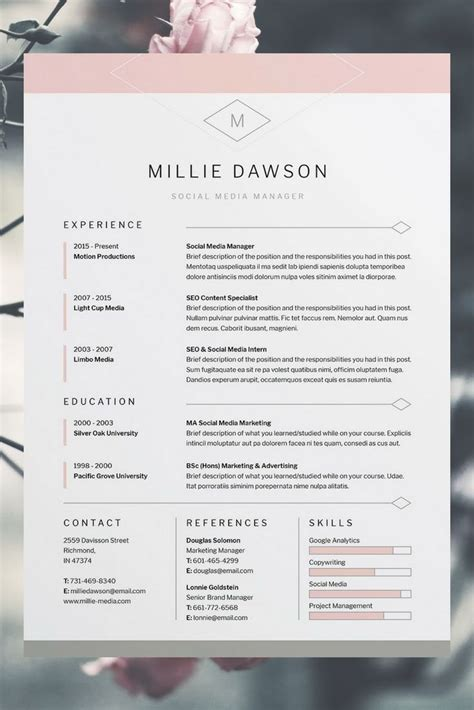 Millie Resume Cv Template Word Photoshop Indesign Professional Resume Design Cover Template Resume Gratis