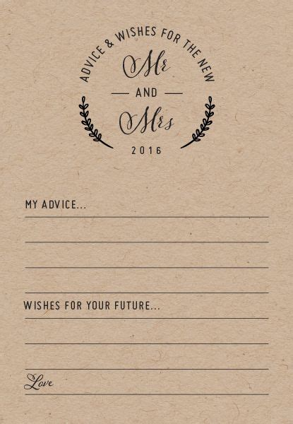 And Groom Advice Cards Template by Add The Finishing Touch To Your Reception With