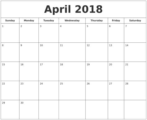 printable monthly calendar waterproof april 2018 printable calendar calendar doc