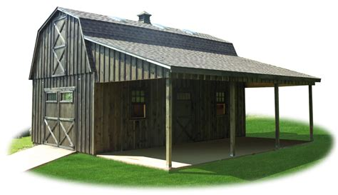 L Shaped Garages two story workshop package board n batten gambrel barn