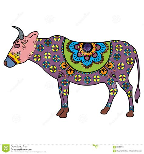 doodle fit 2 india holy cow mehndi doodle cow colored in indian style stock