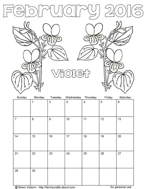 printable calendar to color printable february 2016 calendars holiday favorites