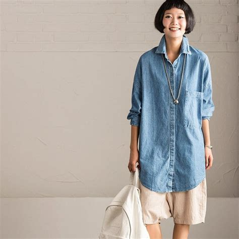 Boyfriend Big Size blue denim boyfriend style shirt big size casual tops clothes w0187a cotton linen
