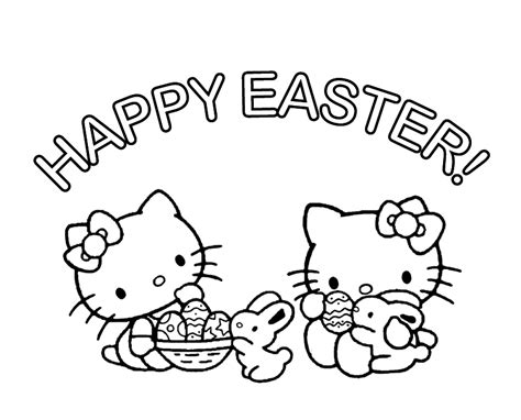 hello kitty easter coloring pages to print hello kitty happy easter coloring pages color bros