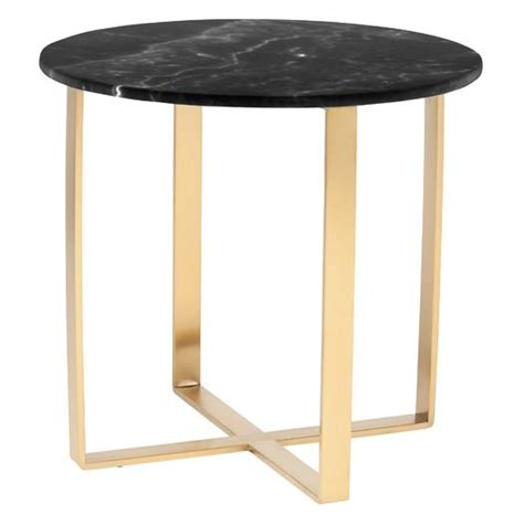 black marble side table gold quatrefoil end table