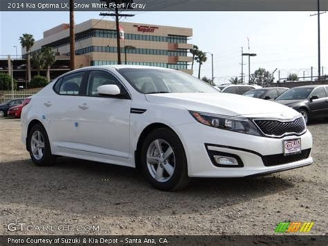 2014 White Kia Optima Snow White Pearl 2014 Kia Optima Lx Gray Interior