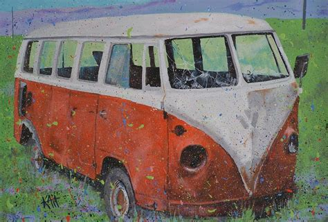 volkswagen bus painting 63 vw type 2 bus painting by les katt