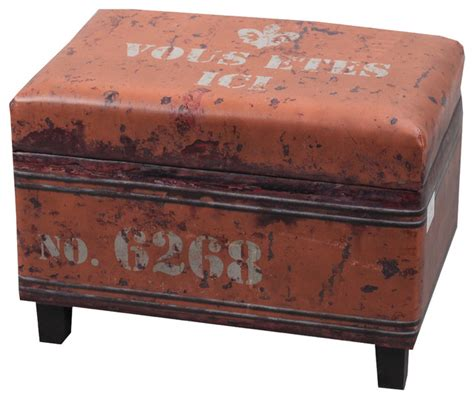 industrial ottoman nach faux leather rectangular industrial stool with