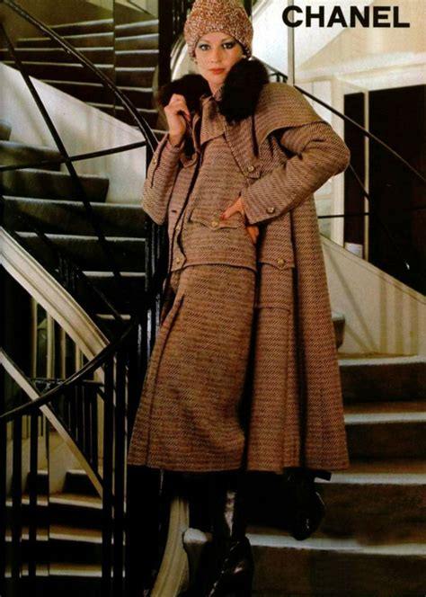 Designer Clothes Chanel Top 10 by Chanel Ad 1977 70s Wool Suit Beige Jacket Skirt Coat