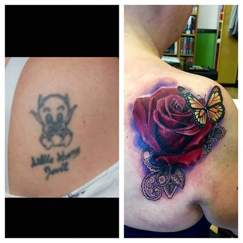 devil rose tattoo another cover up from today thanks fixers