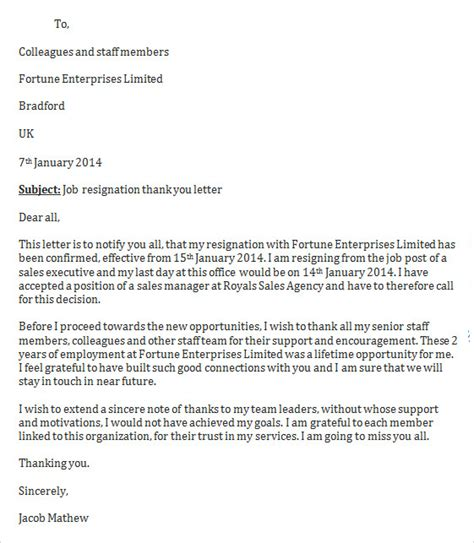 Resignation Letter Thank You Sle Sle Resignation Letter Template 14 Free Documents In Word Pdf