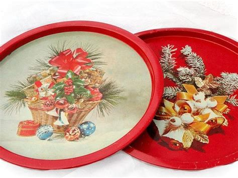 vintage christmas tin trays metal cookie tray serving