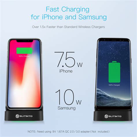 slitinto wireless charger 7 5w fast wireless charging stand compatible iphone xs max xr xs x 8