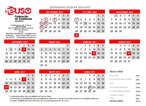 Calendario Escolar Madrid Capital 2016 Calendario Escolar 2016 2017 Madrid Calendario Escolar