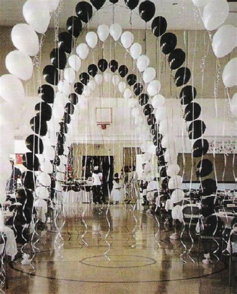 decorations for black and white themed these balloon arches with streamers would be great
