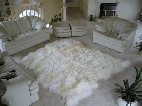 white skin rug with sheepskin rugs or sheepskin hides or icerugs or furs