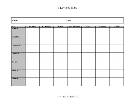 Printable Diary Sheets | 7 day food log printable calendar template 2016