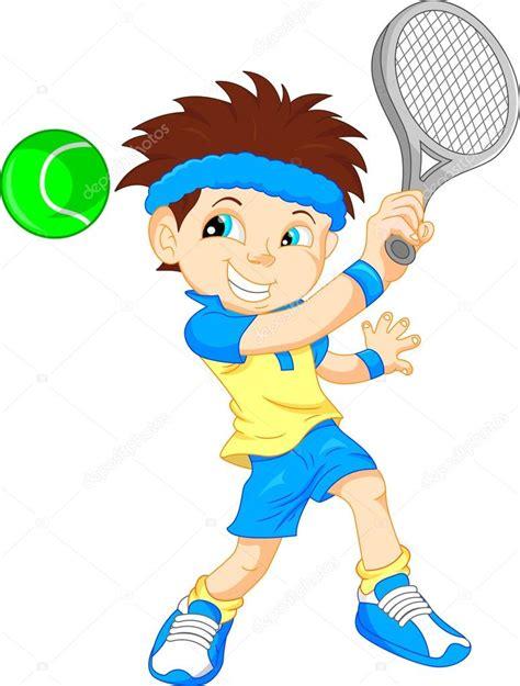 dibujos de niños jugando tenis caricatura de ni 241 o tenis jugador vector de stock