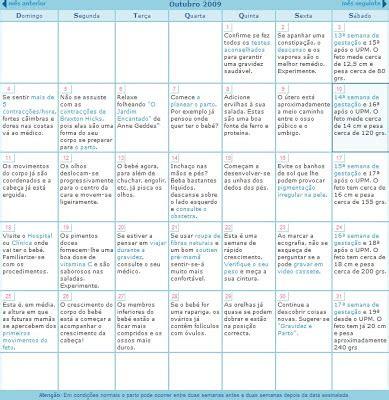 Calendario Gestacional Cantinho Particular Do Beb 234 Da Leidi Outubro