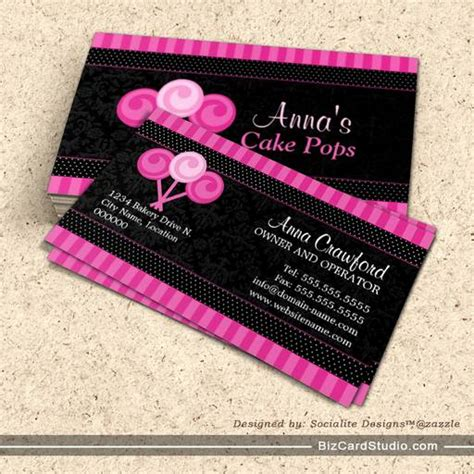 business card template for a bakery cake pops bakery business cards