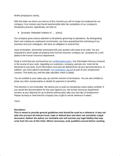 termination letter format on disciplinary grounds wrongful termination letter to employer termination