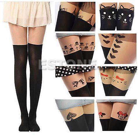 sexy black cute cat tattoo socks sheer pantyhose mock women cute tattoo socks sheer pantyhose mock tights