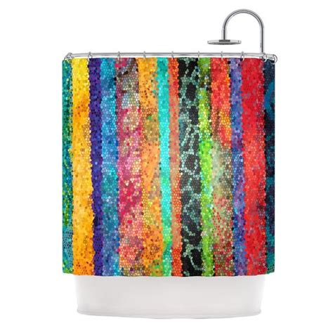 Stained Glass Shower Curtain by Catherine Holcombe Quot Stained Glass Batik Mosaic Stripe