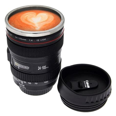 slr camera lens stainless steel travel coffee mug with