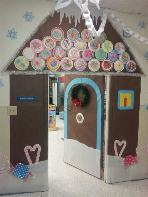 free classroom christams decoration ideas my inspired gingerbread house classroom door the candies are paper plates wrapped