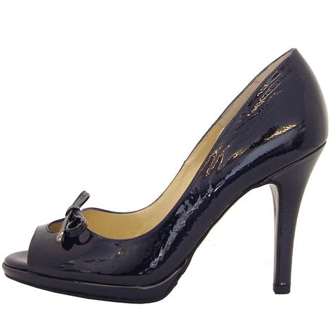 navy patent shoes kaiser cinua peep toe high heels in navy patent