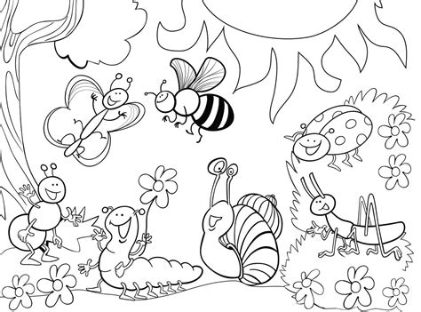 garden creatures coloring pages insects images gt flowers coloring pages nature insect