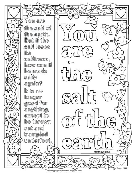 good salt of the earth coloring page artsybarksy