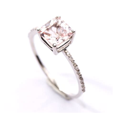 Princess Cut Rings by Princess Cut Morganite Pave Ring Christine K Jewelry