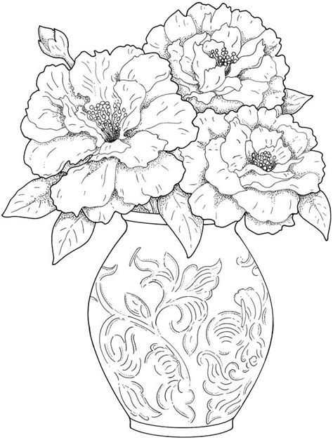 coloring pages of flowers in a vase dover publications creative haven beautiful flower
