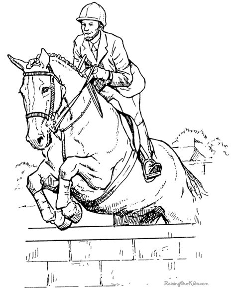 Coloring Pages Of Horses Jumping jumping coloring sheet