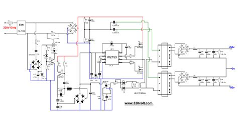 switch mode power supply circuit diagram ir2153 smps circuit project 2x50v switch mode power supply