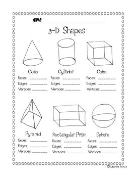 worksheet on shapes for grade 3 3 d shapes facts worksheet by leanne prince teachers pay