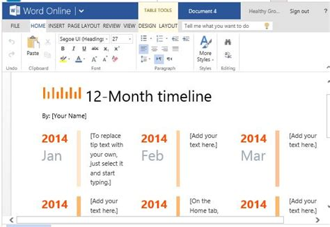 how to make a professional calendar one year timeline maker template for word