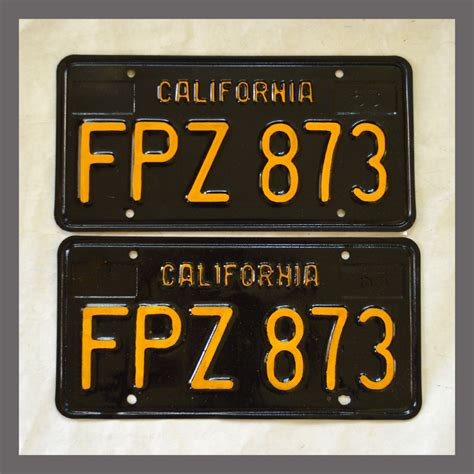 Vanity Plates For Sale by 1963 California Yom License Plates For Sale Vintage Pair