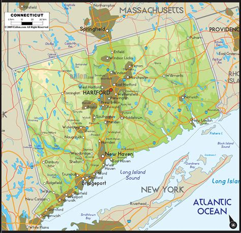 us map connecticut physical map of connecticut ezilon maps